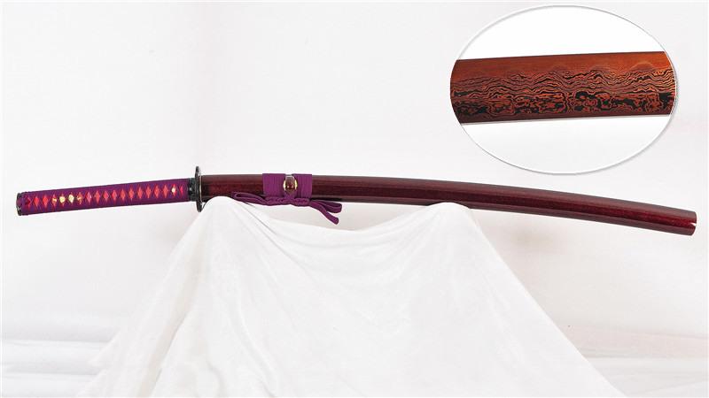 Clay Tempered Sammai Katana Japanese Sword Reddish Black Blade--Ryan1013