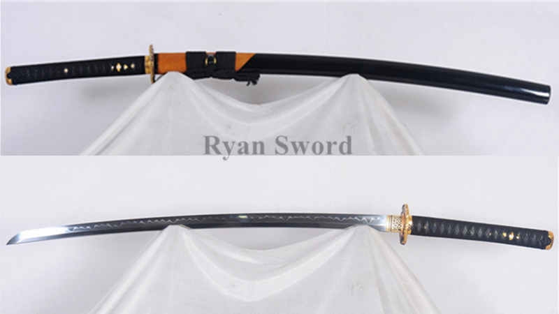 T10 Clay Tempered Katana Japanese Sword Rayskin Saya Eagle Tsuba Full Tang Sharp--Ryan306