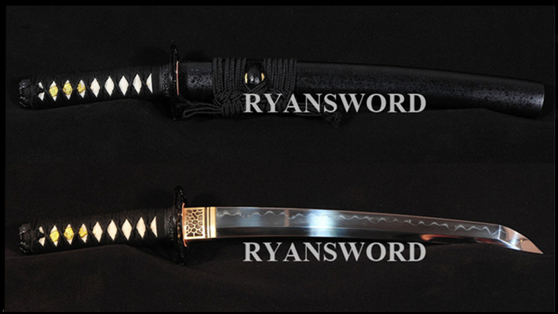 Tanto Japanese Short Sword 1095 Carbon Steel Clay Tempered Sharp--Ryan320