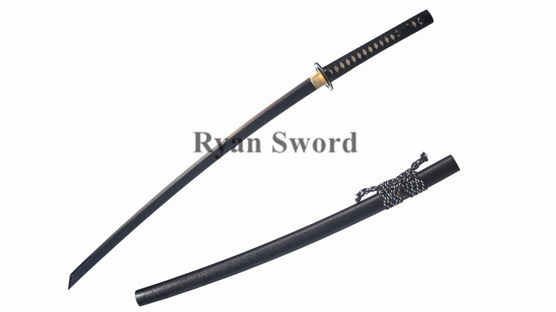 Clay Tempered Black Blade Katana 1095 Carbon Steel Iron Tsuba Heavy Cutting--Ryan1308