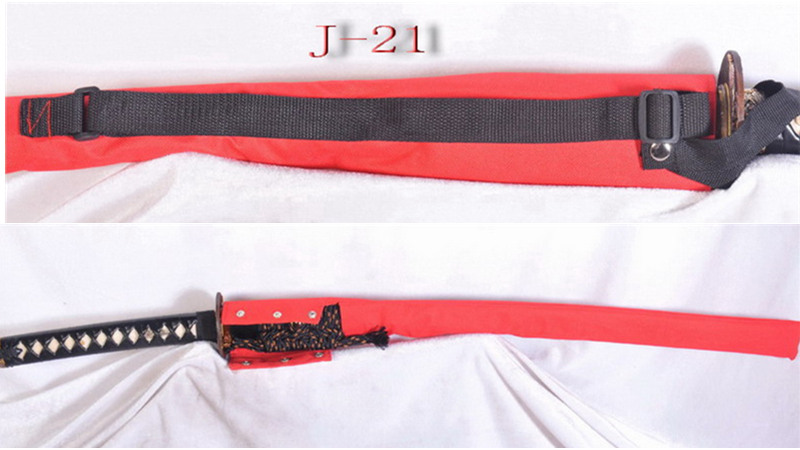 Waterproof Sword Bag with Strap for Katana Red Nylon J-21