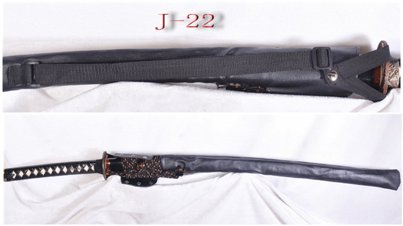Waterproof Sword Bag with Strap for Katana Black Synthetic Leather J-22