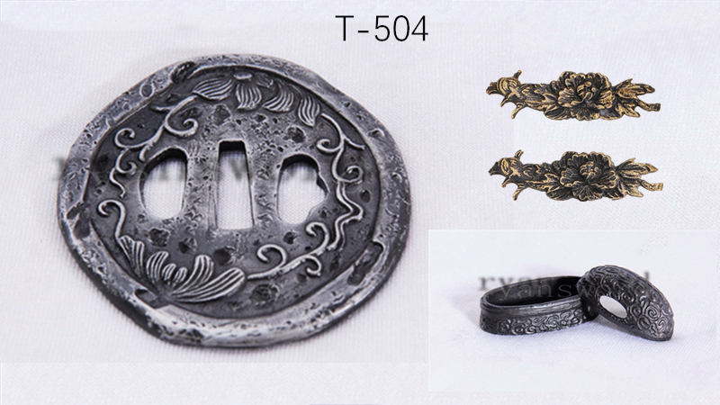 Iron Tsuba+Fuchi+Kashira Japanese Sword Fittings