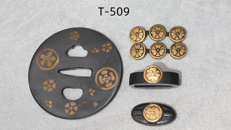 Iron Tsuba+Fuchi+Kashira with Brass Embedded
