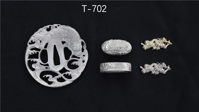 Brass Tsuba+Fuchi+Kashira for Japanese Sword with Silver Plating
