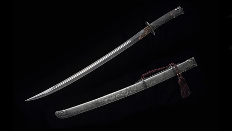 Peony Qing Dao Rayskin Scabbard and Handle Handmade Iron Fittings--sgl0309