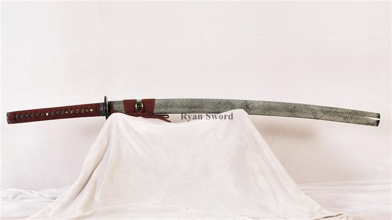 Katana 1095 Carbon Steel Full-Rayskin Saya Hand-Craved Blade--Rayan1356