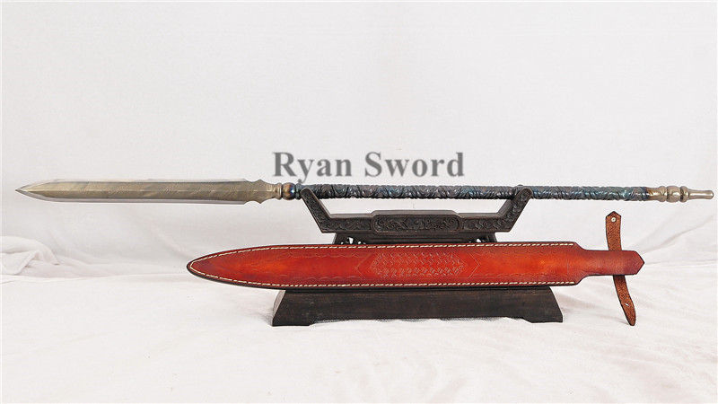 Handmade Spear Folded Steel with Cow Leather Sheath--Ryan1344