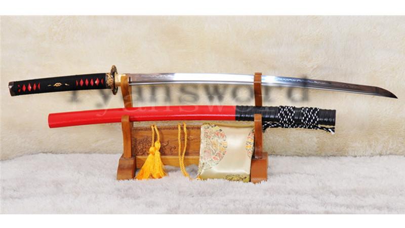 O-Kissaki Clay Tempered Katana 1095 Carbon Steel Copper Dragon Tsuba--Ryan1003