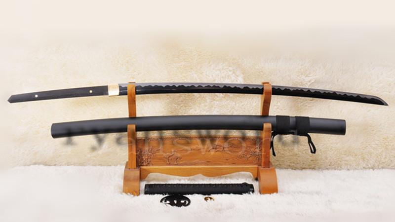 Katana 1095 Carbon Steel Black Blade Fake Hamon Iron Tsuba --Ryan1008