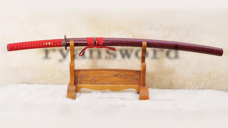 Katana 1095 Carbon Steel Red Blade Abrasived Hamon --Ryan1009