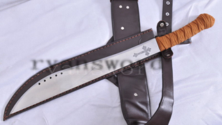 HEAVY CUT HUNTING ELI SWORD 1095 HIGH CARBON STEEL LEATHER COVER--RYAN1036
