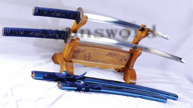Baisho Katana+Wakizashi Japanese Sword Set Folded Steel Dragon Tsuba--Ryan1037