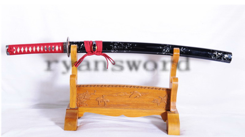 Handemade Wakizashi Japanese Sword Folded Steel Reddish Black Blade Full Tang--Ryan1048