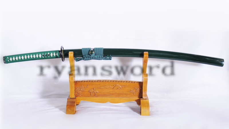 9260 Spring Steel Green Katana Japanese Sword Iron Tsuba Unokubi-Zukuri Blade--Ryan1051
