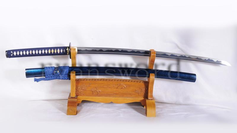 Folded Steel Katana Japanese Samurai Sword Handmade Abrasived Hamon Full Tang--Ryan1076