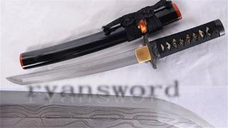 Tanto Damascus 1095 Carbon Steel Japanese Short Sword Iron Tsuba--Ryan1083