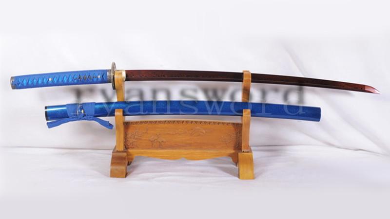 Iaito Reddish Black Blade Katana Japanese Sword Damascus Folded Steel Unsharp--Ryan1090