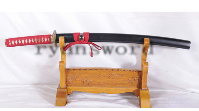 Folded Steel Wakizashi Japanese Sword Full Tang Brass Tsuba--Ryan1101