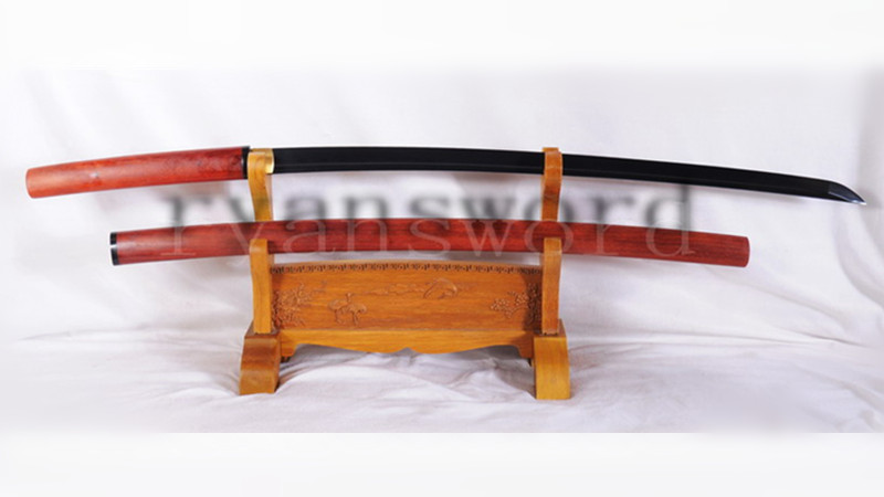 Katana Shirasaya Folded Steel Black Blade Redwood Saya with Buffalo Horn--Ryan1106