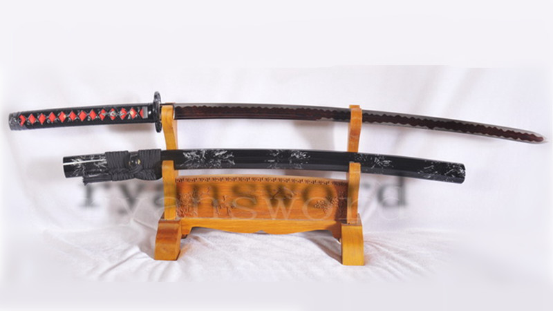 Double Edge Katana Japanese Sword Kogarasu-Maru Style Damascus Folded Steel Reddish Black Blade Light Cutting--Ryan1121