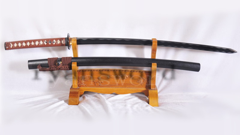 Little Crow Katana Double Edge Kogarasu-Maru Shape Folded Steel Black Blade Light Cutting--Ryan1122