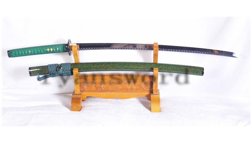 Kobuse Green Katana Japanese Samurai Sword Clay Tempered Iron Tsuba Battle Ready--Ryan1126