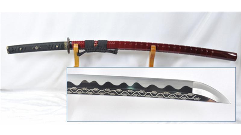 Katana 1095 High Carbon Steel Blade with Rose Engraving Sharp--Ryan1127