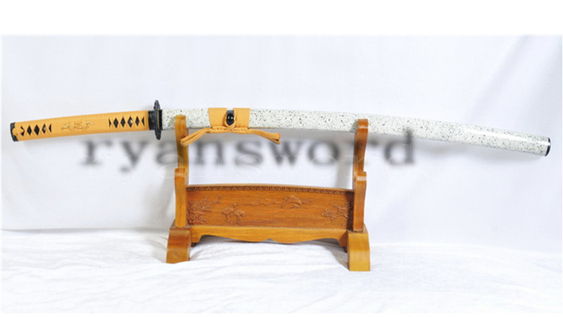 Kogarasu-Maru Katana Sammai Clay Tempered Double Edge Japanese Sword Full Tang--Ryan1128
