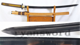 Kogarasu-Maru Katana 1095 Folded Steel Clay Tempered Double Edge Full Tang--Ryan1131