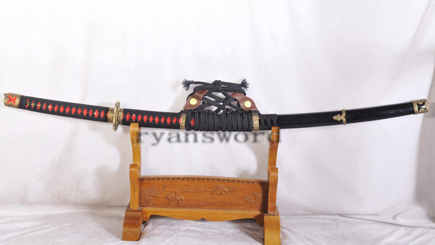 Tachi Japanese Sword 1095 High Carbon Steel Clay Tempered Full Tang Sharp--Ryan1143