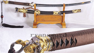 Tachi Japanese Sword 1095 Carbon Steel Clay Tempered Hazuya Polish Ebony Saya--Ryan1150