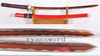 Kogarasu-maru Katana Little Crow 1095 Steel Japanese Samurai Sword Red Blade--Ryan1152