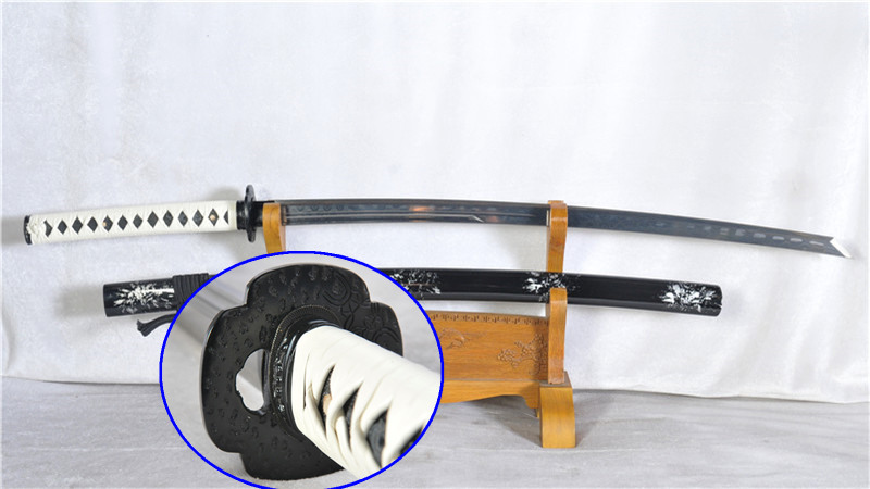 Damascus Steel Japanese Sword Handmade Katana Full Tang Sharp Iron Tsub--Ryan1163