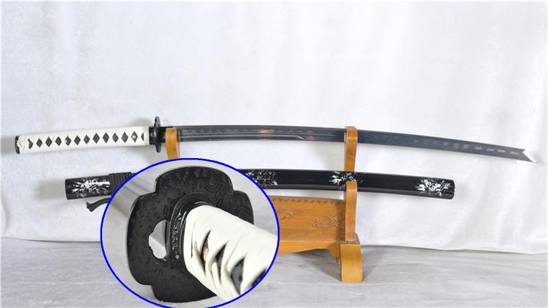 Damascus Steel Japanese Sword Handmade Katana Full Tang Sharp Iron Tsub--Ryan1163