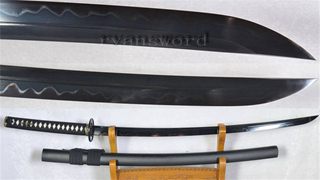 Black Blade Clay Tempered Katana Unokubi-Zukuri 1095 High Carbon Steel--Ryan1166