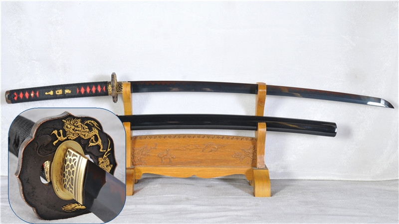 Black Blade Clay Tempered Katana Japanese Samurai Sword Hand Forged Functional--Ryan1167