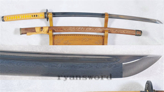 Folded Steel Katana Japanese Samurai Sword Full Tang with Bo-Hi Battle Ready--Ryan1172