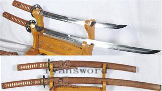 Katana+Wakizashi Japanese Sword Set Baisho Clay Tempered Battle Ready Sharp--Ryan1174