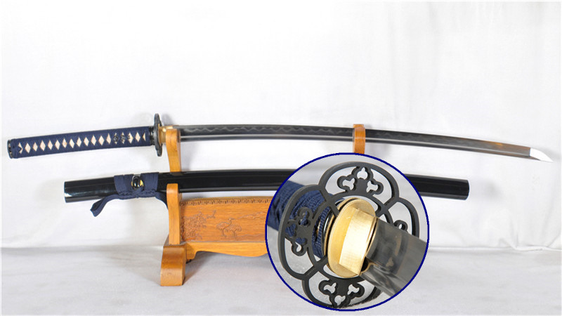 Folded Steel Katana Clay Tempered Japanese Samurai Sword Full Tang Functional--Ryan1184
