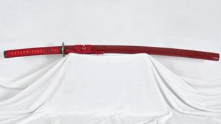 1095 Carbon Steel Katana Japanese Sword Unokubi-Zukuri Red Blade Abrasived Hamon Light Cutting--Ryan1203