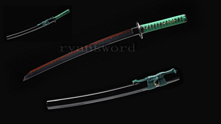 Wakizashi Japanese Short Sword Clay Tempered 1095 Steel Black Blade Functional--Ryan1217