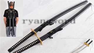 Double Swords in Deadpool Japanese Katana Folded Steel Copper Tsuba Battle Ready--Ryan1220