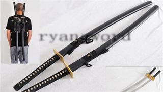 Double Swords in Deadpool Japanese Katana Folded Steel Copper Tsuba Battle Ready--Ryan1220