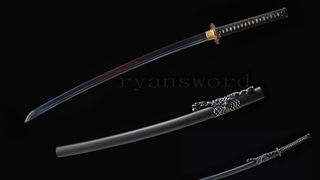 Folded Steel Katana Blue Blade Japanese Sword Copper Tsuba Sharp Full Tang--Ryan1224