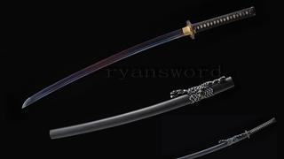 Folded Steel Katana Blue Blade Japanese Sword Copper Tsuba Sharp Full Tang--Ryan1224