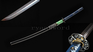 Folded Steel Katana Blue Blade Japanese Sword Genuine Rayskin Saya Sharp Light Cutting--Ryan1226