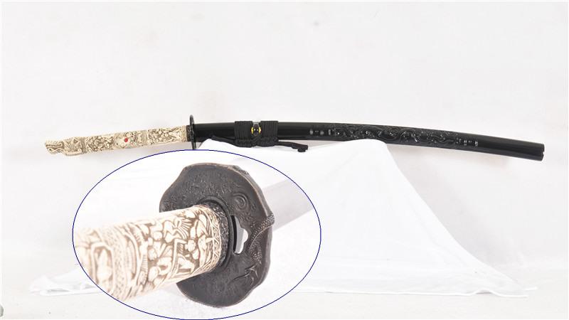 Sanmai Katana Clay Tempered Japanese Sword Bone Tsuka Handle Dragon Saya Sharp--Ryan1227