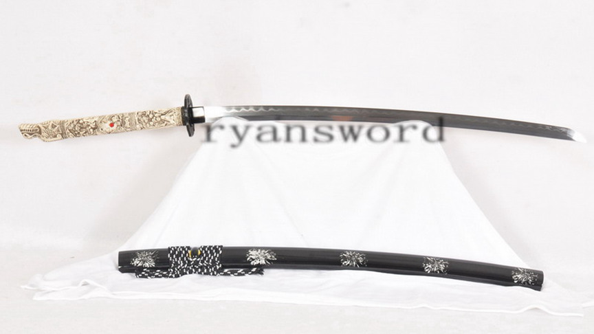 Honsanmai Katana Clay Tempered Japanese Sword Bone Tsuka Handle Full Tang Handmade--Ryan1228