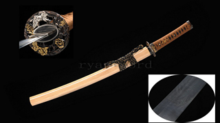 Feathered-Pattern Wakizashi Folded Steel Copper Tsuba Hand-forged Functional--Ryan1230